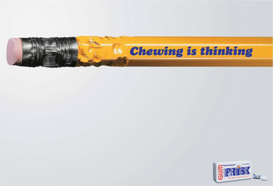 Chewing is Thinking add for Frisk gum