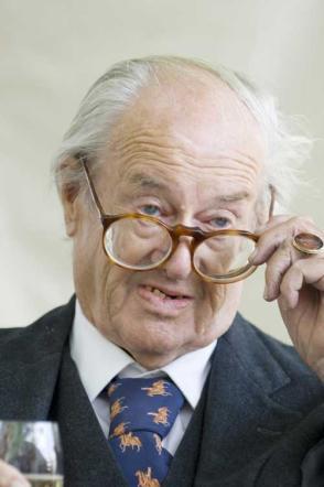 John Mortimer with glasses