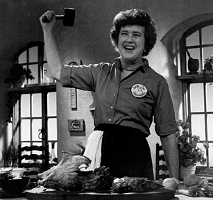 Julia Child with mallet