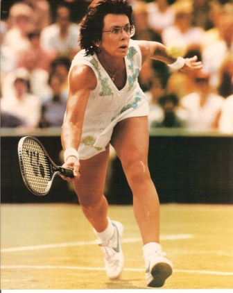 Billie Jean King on tennis court