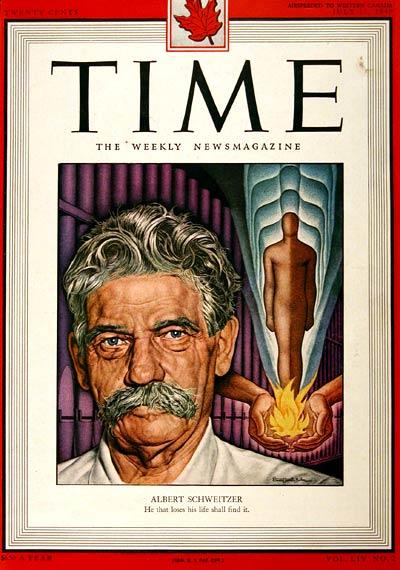 Albert Schweitzer on Time magazine cover