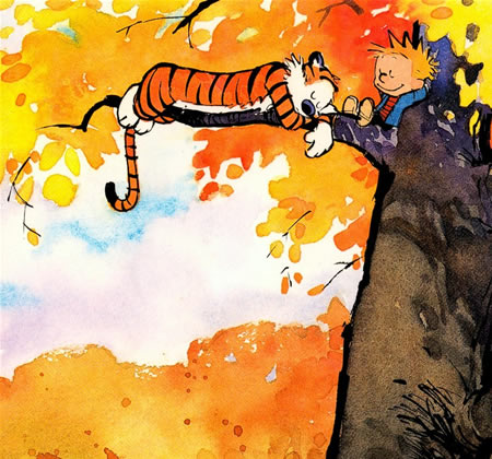 Calvin and Hobbes in tree by Bill Watterson