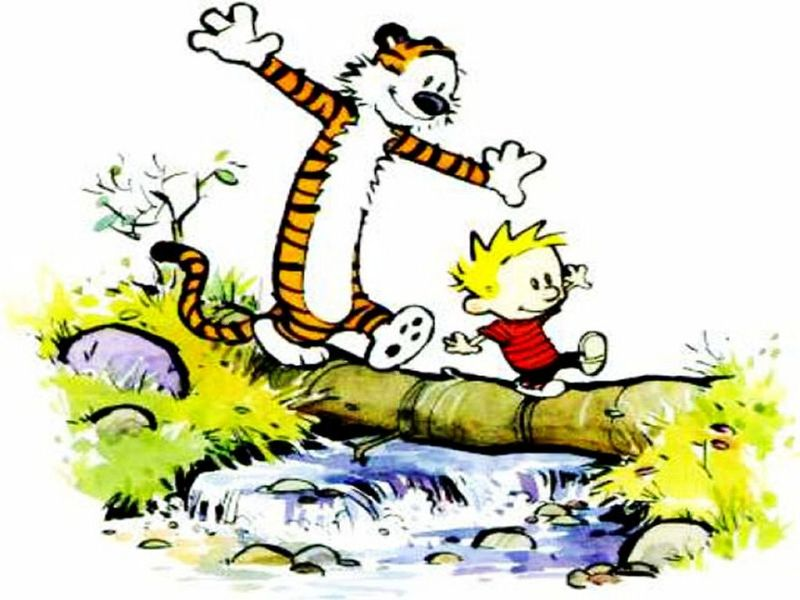 Calvin and Hobbes on log