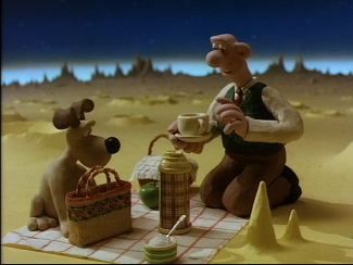 Wallace and Gromit eat cheese on moon in A Grand Day Out