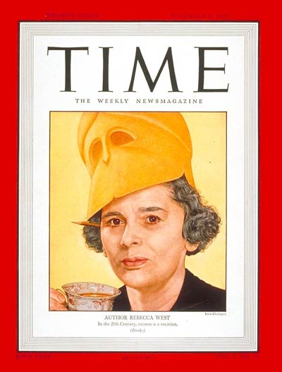 "Rebecca West Time magazine cover. ""Before a war military science seems like"