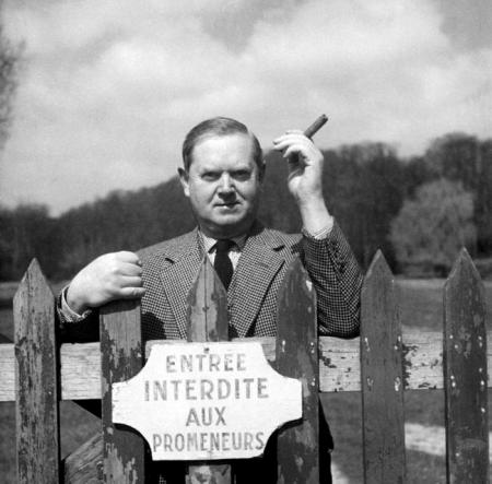 Evelyn Waugh with cigar