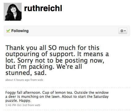 Ruth Reichl Twitter statements