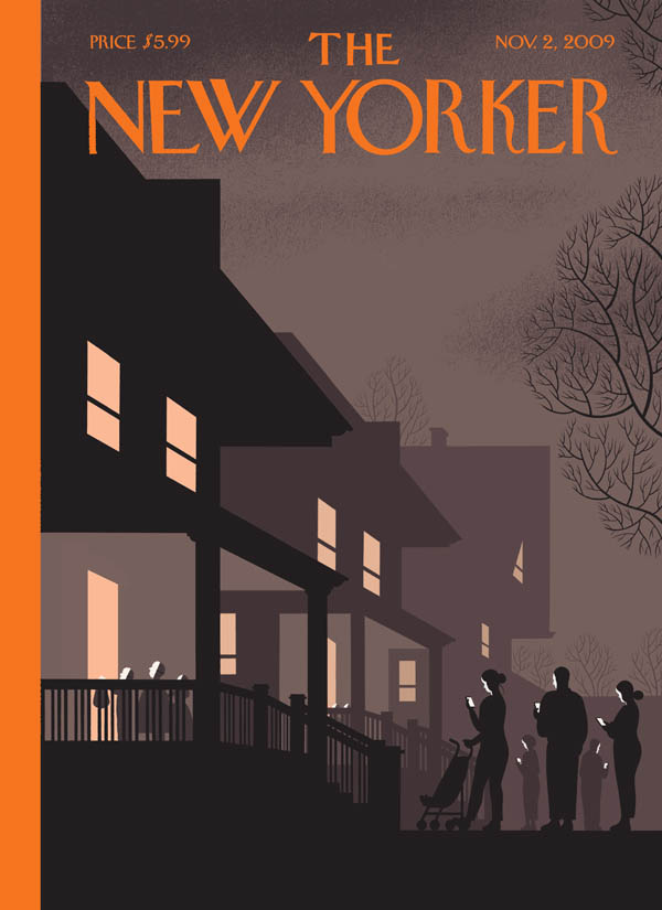 New Yorker cover 2009 Halloween parents smartphones