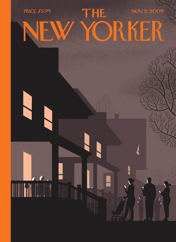 New Yorker cover 2009 Halloween parents smartphones