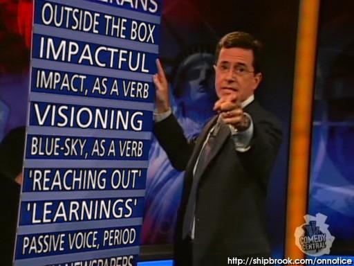 Colbert On Notice board language January 2010