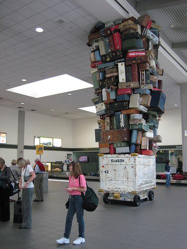 Sacramento baggage claim art VHS Flickr stream