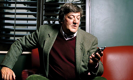Stephen Fry with phone