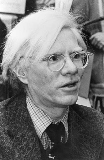 Andy Warhol with clear glasses