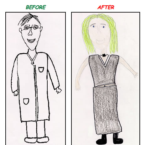 Scientist before and after