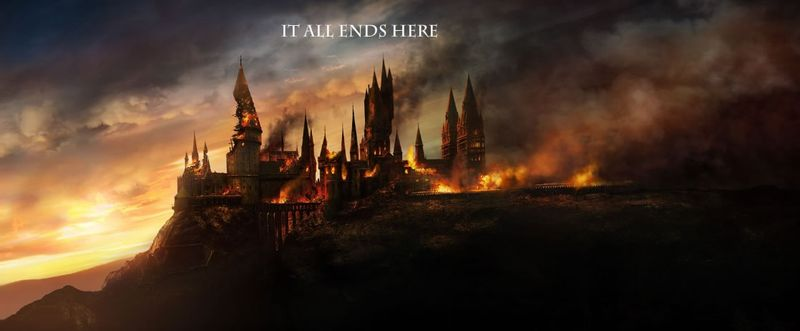 Battle of Hogwarts teaser line Harry Potter Deathly Hallows trailer screengrab