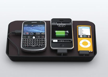 Charging station with BlackBerry iPhone iPod
