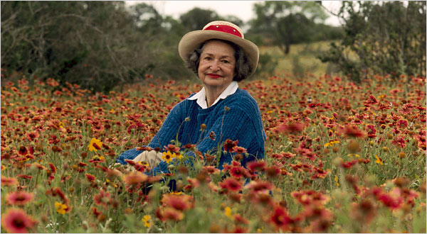 Lady Bird Johnson in field of flowers