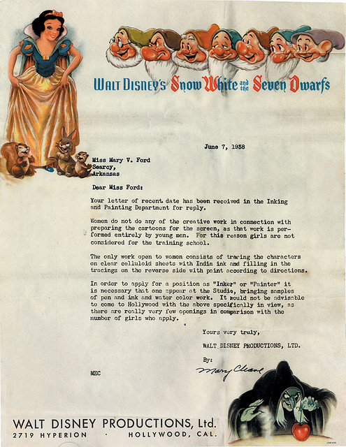 Disney rejection letter 1938 sexism