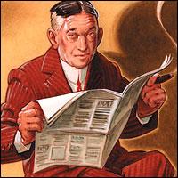 HL Mencken illustration with newspaper