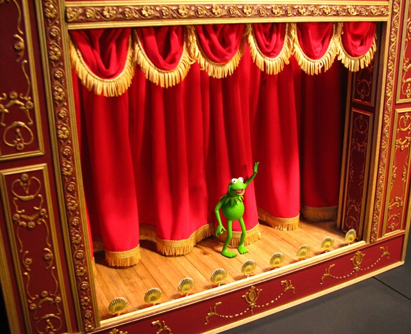Kermit and homemade Muppet theatre