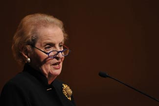 Madeleine Albright with brooch