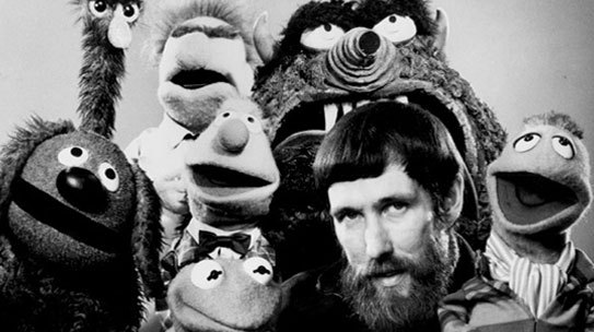 Jim Henson with muppets b&w