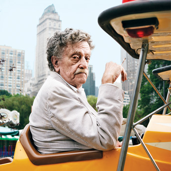 Kurt Vonnegut Jr in airplane rider