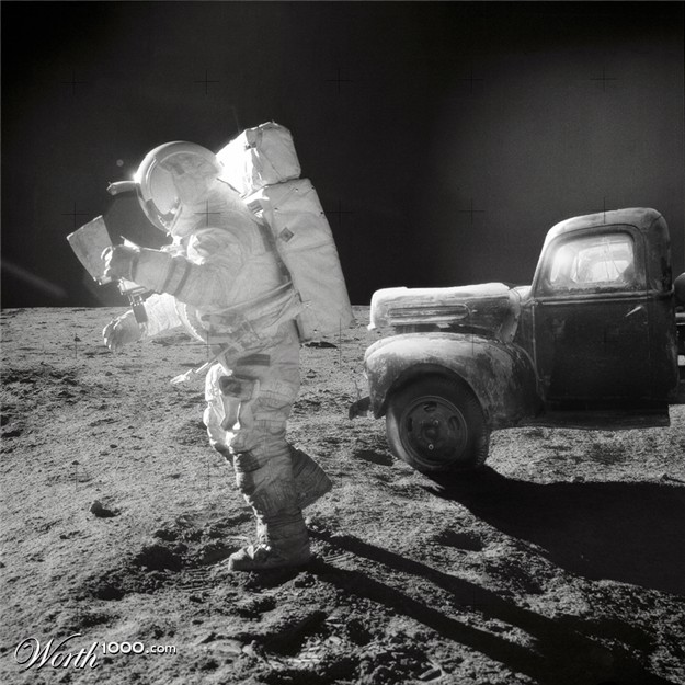 Antique truck cab on the moon