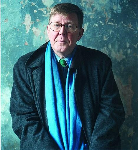 Alan Bennett blue scarf