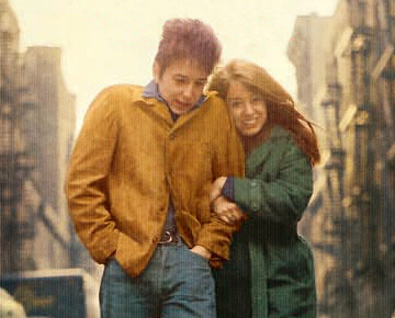 Suze Rotolo and Bob Dylan on cover of Freewheelin Bob Dylan