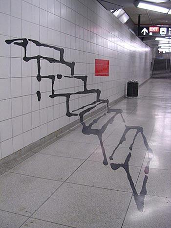 Subway steps graffiti optical illusion