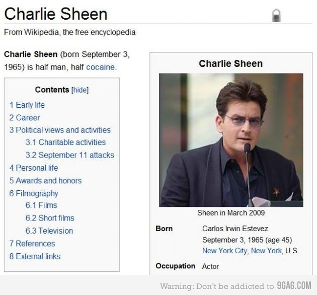 Charlie Sheen half man half cocaine