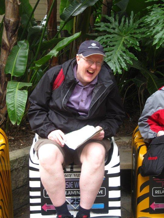 John at San Diego zoo foot massage