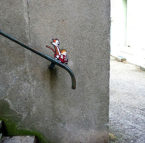 Calvin and Hobbes street art This Isnt Happiness