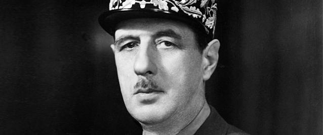 Charles de Gaulle black and white uniform
