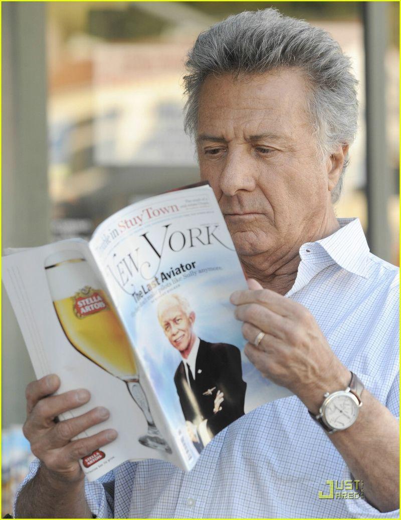 Dustin Hoffman reading New York magazine