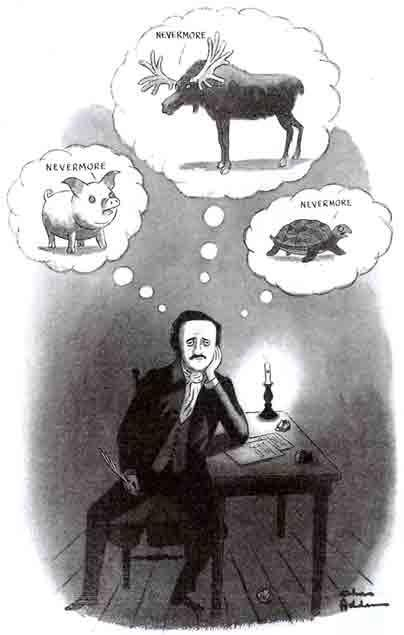 Poe writing The Raven by Charles Addams