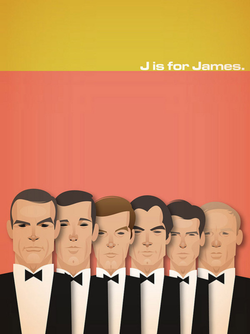 J is for James James Bond drawings