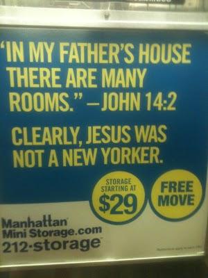 Jesus was not a New Yorker Manhattan mini-storage