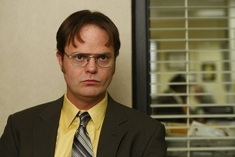 Dwight Schrute by window blinds The Office