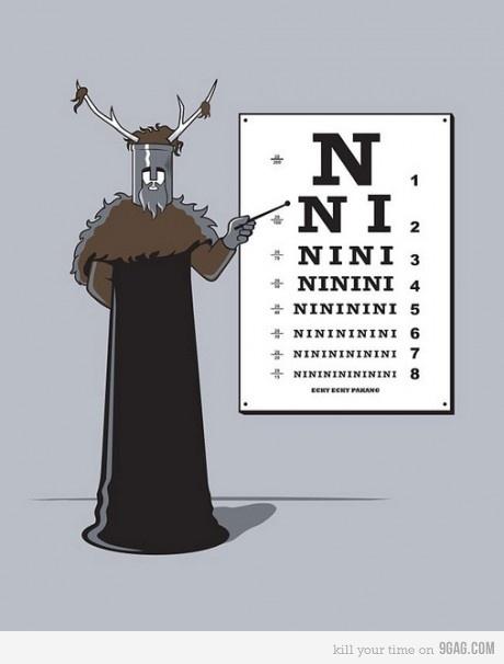 Knights Who Say Ni Reading Chart