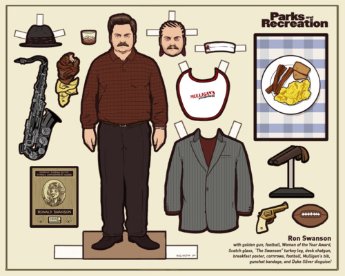Ron Swanson Parks and Recreation paper doll