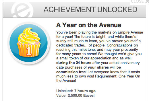 Year on the Avenue achievement unlocked