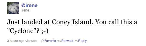 Irene tweet Coney Island Cyclone