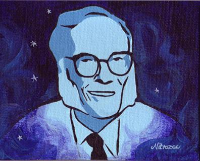 Isaac Asimov painting by Nitrozac