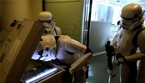 Stormtrooper photocopier office prank