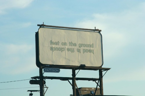 Feet on the ground head in the clouds talking heads billboard