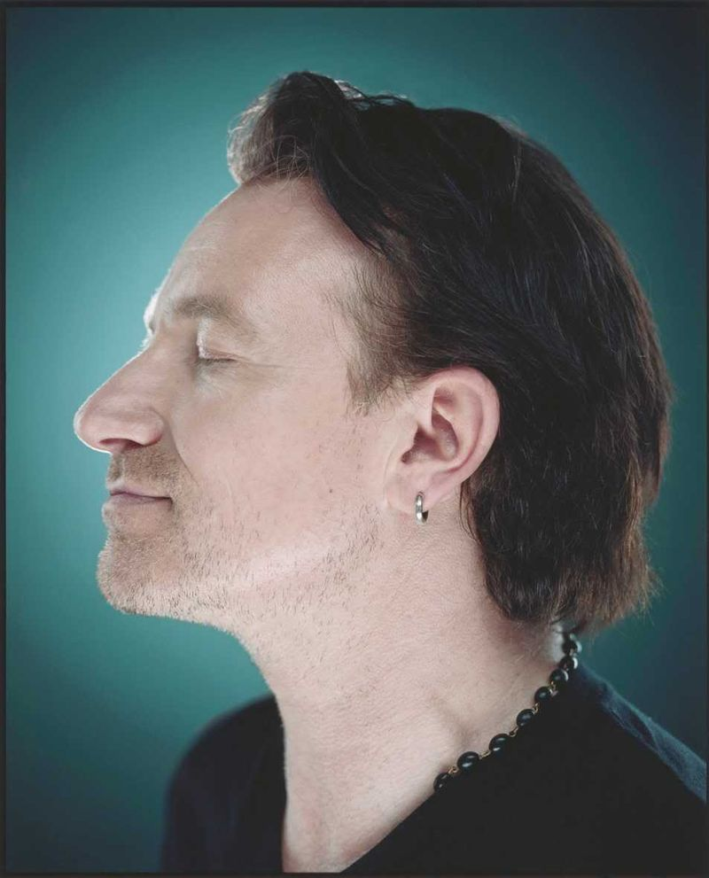 Bono in profile portrait colour