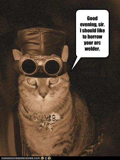 Steampunk cheezburger cat