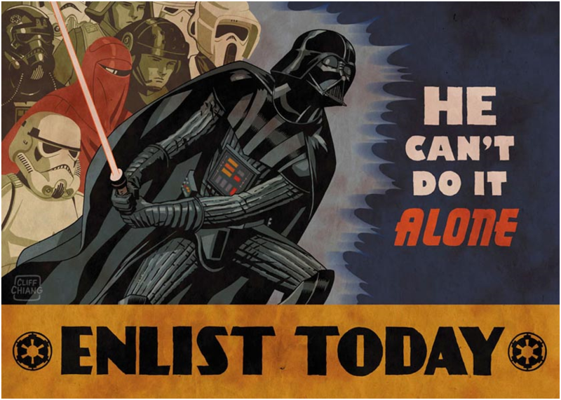 He Can't Do It Alone Star Wars propaganda poster